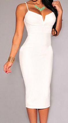 Stylish Spaghetti Strap Sleeveless Solid Color Women's Dress #Elegant #White #Sexy #Women #Dress