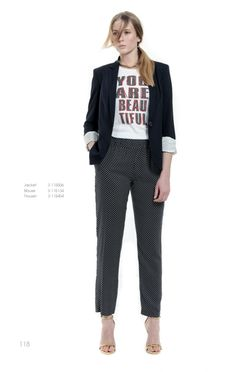 A navy blue prim blazer paired with dotted pants and heeled sandals is the ideal office outfit that highlight you ultra-modern impact!