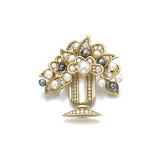 Cultured pearl, mother-of-pearl and diamond brooch, Bulgari Of giardinetto design, the vase set with mother-of-pearl and brilliant-cut diamonds, the flowers and leaves accented with cultured pearls of cream and purplish grey tint and brilliant-cut diamonds, signed Bulgari, numbered, maker's mark for Marina B.