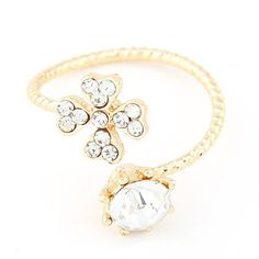 Inexpensiv gold color diamond decorated clover shape design alloy Korean #Rings www.asujewelry.com
