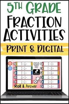 Digital Fraction Activities! Use these digital math activities to have your students practice fraction skills in a more engaging way. These Roll and Answer math activities are available in both print and digital format! Use these for math centers, digital math distance learning, independent math activities, and even partner math activities. Fraction Activities, Math Games, Math Activities, Upper Elementary Resources, Teacher Resources, Teaching Fractions, Maths, Math Skills, Math Lessons