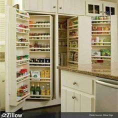 """The Ultimate in kitchen storage! They referred to this as a """"Snack Closet"""" although i see it more of a pantry. Whatever you call it, it's fantastic!"""