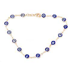 Barzel 18k Goldplated Blue Crystal Evil Eye Anklet (Cobalt Blue Evil Eye Anklet), Women's, Size: Over 9 Inches, Yellow