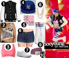 Get Sooyoung's look from I Got a Boy.  1. Life 8: Baseball Jacket @YesStyle.com   2. Volcom: Flip Trip Crop Tank   3. Forever 21: Medium Impact Sports Bra   4. New Era: 59 FIFTY NY Baseball Cap   5. Bandanashop: Light Pink Paisley   6. Genetic Denim: Lost Boy Boy Fit Cut-Off Short   7. Grasshoppers: Janey Canvas Oxford   8. Forever 21: Double-Link Chain Necklace   9. American Apparel: Stripe Thigh-High Socks   10. Jay Jays: Checked Web Belt