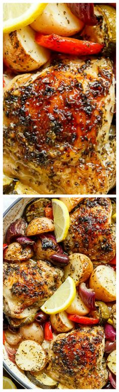 Garlic Lemon Herb Mediterranean Chicken And Potatoes ~ All made in the ONE PAN for an easy weeknight dinner the whole family will love!