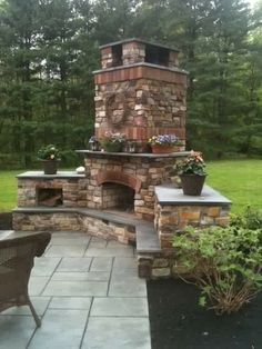 Back yard fireplace