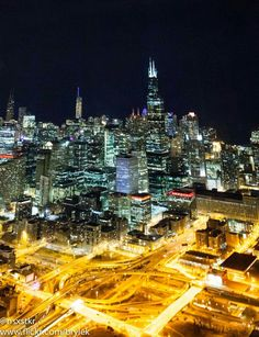 Nighttime shinning over Chicago