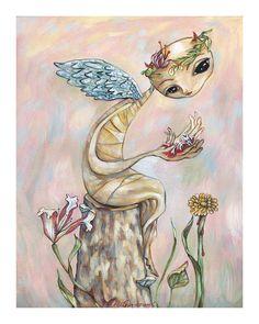 Broken: Angel In the Garden - Pop Folk Surrealism Print - by Heather Renaux-unframed
