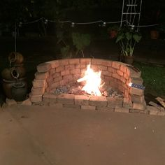 Fire pit made in one evening fits 6 around front. Made from repurposed bricks