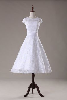 New Short Ivory / White beaded Lace Wedding Dress Size