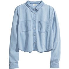 H&M Cropped denim shirt (315 ZAR) ❤ liked on Polyvore featuring tops, shirts, crop tops, blouses, denim blue, denim top, crop top, shirts & tops, long sleeve shirts and blue top