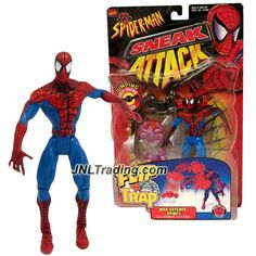 Toy Biz Year 1998 Marvel Comics Spider-Man Sneak Attack Flip 'N Trap 6 Inch Tall Figure - WEB CATCHER SPIDEY (Red/Blue) with Webnet Catcher, Spider and Sticker