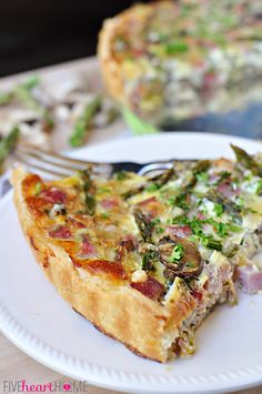Springtime Asparagus Tart ~ with ham, mushrooms, Swiss, and a buttery crust