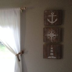 Rustic Nautical Art Set of 3 by RusticHomemade on Etsy