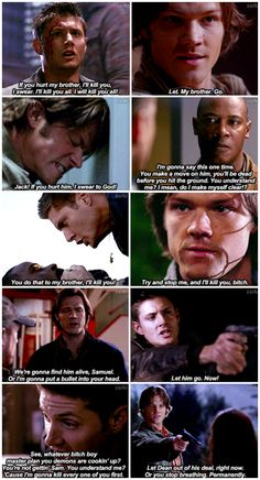 The Winchester brothers being protective of each other - I love this <3 [gifset]