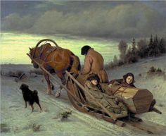 Last Journey, 1865, oil on canvas by Vasily Grigorevich Perov. Russian realist, 1834-1882.  This widow with her young children will face a hard life. It can be seen in the horse as it strains to pull the load up a slight incline and in the woman who carries a similar posture of burden. The winter sunset comes under a lowering sky. Nothing is going to be easy.  Perov was the founder of The Wanderers movement of artists in Russia. This painting is in the Tretyakov Gallery in Moscow, Russia.