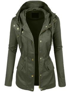 Take over in this military anorak jacket featuring a drawstring waist and front pockets. It is a must have for a fashion forward outfit! Pair it with our favorite basic t-shirt and legging pants for c