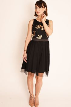 Womens Ladies Embellished Black Sequin Tulle Mini Skater Dress Tutu Size 6 8 10 Black Sequins, Black Gold, Mini Skater Dress, Sequin Party Dress, Prom Party, Collar Styles, Fit Flare Dress, Types Of Sleeves, Tulle