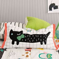 Black cat cushion