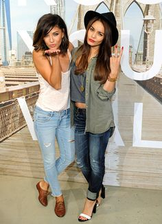 Jessica Szohr and Vanessa Hudgens struck a pose while celebrating the launch of American Eagle Outfitters.
