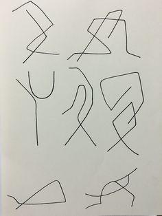 리듬체조 동작을 핵심적인 부분만을 간결한 선으로 표현하여 단순화 해 보았다. _리듬체조_유성펜._추상성,즉흥적,디지털.,선적인 구성,2차원,회화적, 정적,매끈,단색.