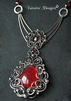 Fine999/sterling silver, Red/pink Chalcedony and garnet necklace
