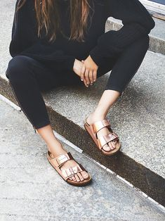 Birkenstock Arizona Metallic at Free People Clothing Boutique