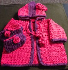 Sweaters can have a flower, bow, or ears added etc... If you don't see what you like just ask and I can make it. Any color from newborn to age 2 can be made.  $20 - 30  Sweater Sets vary from $25 - 40 contact - magicfingers1973@yahoo.ca
