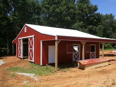 36x36x12 Horse Barn with (1) 10x36 Shed and (1) 12x36 Shed - www.nationalbarn.com