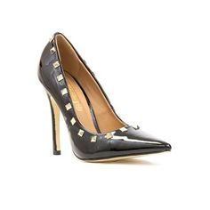 11864 Looking to work the pointed toe trend on a night out? Then why not try these glam Patent Courts with Studs, the perfect accessory for your little black dress £24.99 #womensheels #autumn #pointedtoe