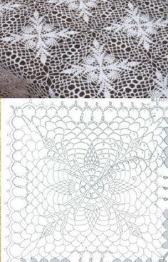 White square crochet doily - 19 inches in diameter Crochet Tablecloth Pattern, Crochet Bedspread Pattern, Crochet Motif Patterns, Granny Square Crochet Pattern, Crochet Squares, Crochet Chart, Thread Crochet, Filet Crochet, Crochet Doilies