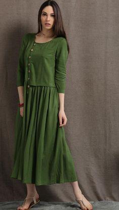 Linen Maxi Dress, Moss Green Asymmetrical Semi-Fitted Casual Comfortable Women's Dress, Plus size Pleated shirt dress with pockets Linen Dresses, Casual Dresses, Fashion Dresses, Summer Dresses, Maxi Robes, Oversized Dress, Indian Designer Wear, Plus Size Dresses, Beautiful Dresses