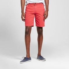 Men's Belted Flat Front Shorts with Stretch Picante Red 34 - Mossimo Supply Co.