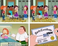 Behind the Scenes (@MakingOfs) tweeted at 10:31 AM on Sat, Mar 08, 2014: In Family Guy, Meg's full name is Megatron Griffin