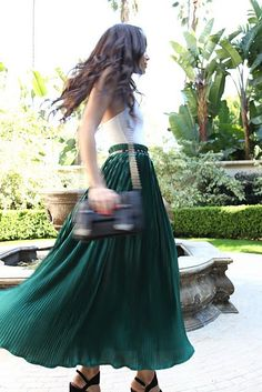 emerald maxi, belted at the waist with a white tank top - slimming & elegant.
