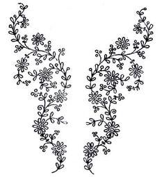 Flores, risco bordado