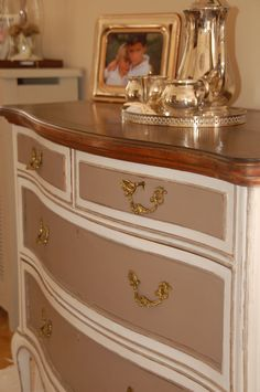 Makeover Dresser with chalk painted bi color and waxed