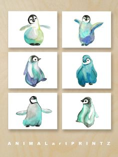 A print set of six sweet penguins in mint, blue, turquoise, purple, teal and black.  You will receive one of each image in the photos as an archival print of my original handmade watercolor art. Feel free to choose which size prints suit you best from the drop down menu.  * Prints in this shop are arranged by color for easy browsing...