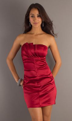 rehearsal dinner for me to match Q <3 Strapless Red Cocktail Dress