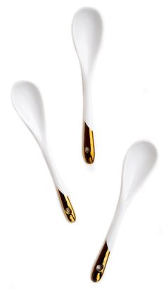 Gold Dipped Porcelain Spoon Set / LEIF