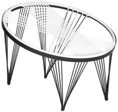 Suspended in black & white at - lifts off this summer with Launchpad, a space-age iteration of the Papasan chair. White woven silicone cords attach to an iron base in a choice of black, cobalt or red. Garden Chairs, Patio Chairs, Mod Furniture, Outdoor Furniture, Furniture Chairs, Feng Shui, Salon Shabby Chic, Cheap Adirondack Chairs, Papasan Chair