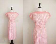 1930s dress  Candy Buttons  vintage 30s pink cotton by 1932vintage, $88.00
