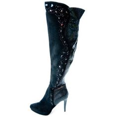 Suede and Snakeskin Knee High Designer Boots Calf Leather, Leather Boots, Air Max One, 3 Inch Heels, Superfly, Designer Boots, Calf Boots, Black Crystals, Large Black
