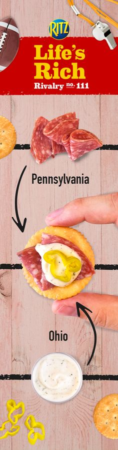 When football team rivalries start to trash talk at your homegate party, call a timeout with a combo of Ohioans' love of ranch dressing and Pennsylvanians' love of salami in Salami & Ranch Hoagie Toppers. Follow this delicious and easy recipe: 1. Slice genoa salami into Cracker-sized pieces 2. Place salami on RITZ Crackers & top w/ a dabble of ranch & a banana pepper slice. Enjoy the complimentary flavors of Ranch dressing and salami!