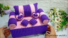 Tissue Box Covers, Tissue Boxes, Crochet Wallet, Crochet Barbie Clothes, Crochet Home Decor, Beaded Bags, Covered Boxes, Crochet Patterns, Crochet Tutorials