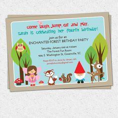 Printable Woodland Birthday Invitation, Enchanted Forest, Fairy, Gnome, Deer, Owl, Squirrel, Girl DIY digital file