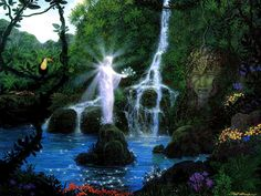 Artwork: paradise goddess by fantasy artist Gilbert Williams. See more artwork by this featured artist on the fantasy gallery website. Art Visionnaire, Hollow Earth, Floating Garden, Original Paintings For Sale, Magical Forest, Pop Surrealism, Visionary Art, Artist Gallery, Fantasy Art