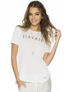 Elevate White Stephanie Fashion Split Crew Tee