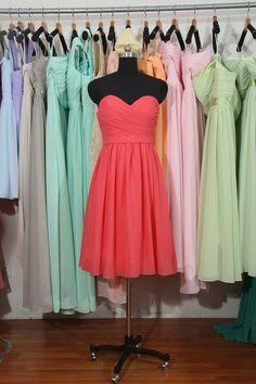 Coral Bridesmaid Dress, Coral Chiffon Bridesmaid Dress, Short Bridesmaid Dress, Cheap Bridesmaid Dress