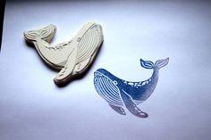 Tiere - großer Wal , Stempel, handgeschnitzt, - ein Designerstück von Aure-und-En bei DaWanda